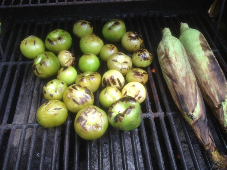 New Jersey-grown tomatillos and sweet corn get toasty on the grill.