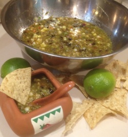 Roasted corn and tomatillo salsa is just the thing with tortilla chips and a cold beer.