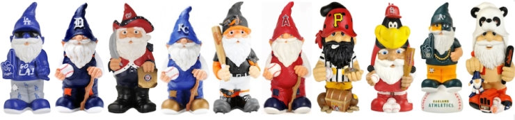 It's true, gnomes love baseball. Good luck to the Royals, A's, Orioles, Tigers, Angels, Pirates, Nationals, Dodgers and Giants. But not you, Cardinals!