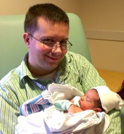 My son was home for Zoe's birth, but had been deployed in the Pacific just a few hours before.