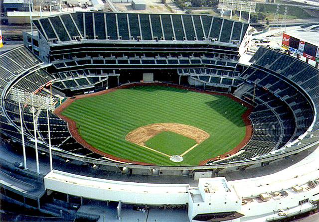 The thing that interests me about the Oakland Coliseum, home of the Oakland A's, is all that foul territory. Why? It's a big advantage for pitchers because foul balls that wind up in the seats at other ballparks are caught for outs in Oakland, making it an extreme pitcher's park.