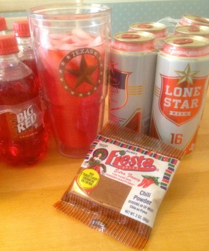 Lone Star Beer, Big Red and chili powder are essential to a Texan's sense of well-being.