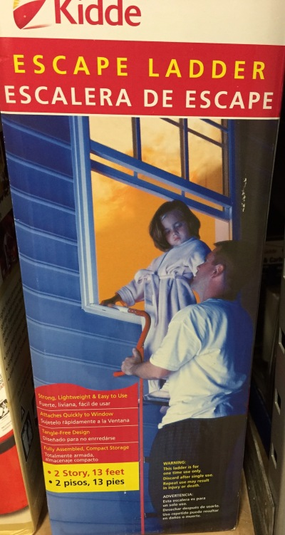 """Daddy: """"Good thing Mommy bought this safety ladder so we can be cool, calm and collected while escaping the inferno!"""" Buffy: """"Daddy, where's Mommy?"""" Daddy: """"BERTHA!!!!!"""""""