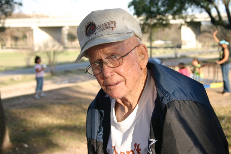 """My father, wearing his Dallas Cowboys jacket over a """"Don't Mess with Texas"""" t-shirt, in the last years of his life."""