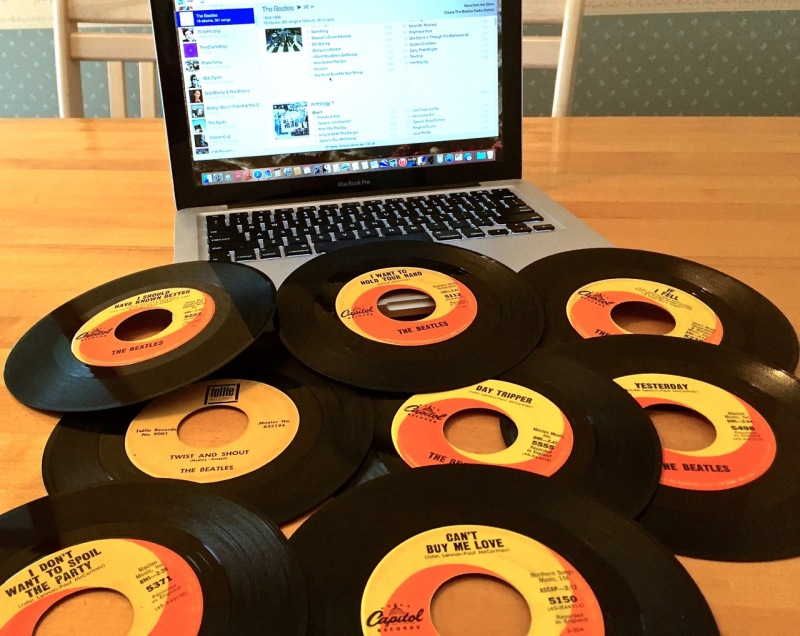 Do you remember where you were when you made your first music purchase in The Cloud? Just look at all these 45 RPM Beatles records. Takes me right back to Record Rendezvous in San Antonio, Texas. I think my sister bought most of them, but I wound up with them.