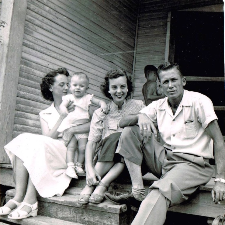 Looking like a scene from Grapes of Wrath, my mother, center, sits with my father and her sister-in-law and niece on the steps of my grandpa's house in Texas, long before I was born.