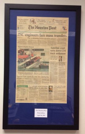 The front page of the final edition of The Houston Post, April 18, 1995 is on former colleague Peter Radowick's wall.