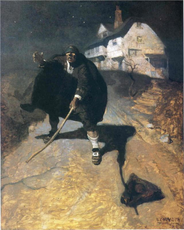 Looking for a geocache can have you feeling a bit like Blind Pew from Treasure Island, as depicted by the most-excellent N.C. Wyeth.