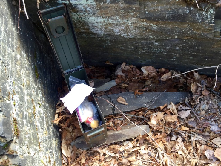 Once I got to the general vicinity of the cache, it still took me a good 20-30 minutes of searching before I located it. Here's the opened box with the log sheet on top.