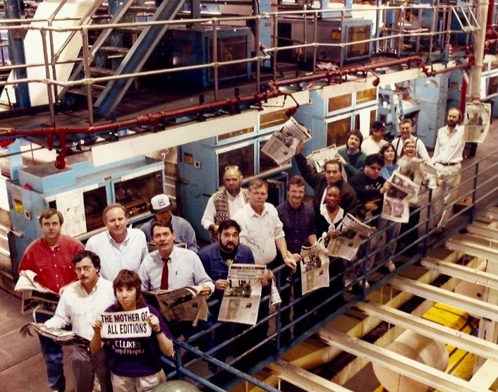 That's part of our crew of editors, reporters and even a couple of clerks in the pressroom at The Houston Post when our Gulf War edition came off the press. That's me on the far left in the white shirt. Fred King, who died just last week, is near the center of the group, wearing a white shirt with his sleeves rolled up.
