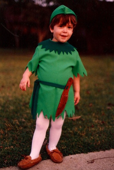 Aaron dressed as Peter Pan one Halloween, and for the longest time didn't seem to want to grow up.