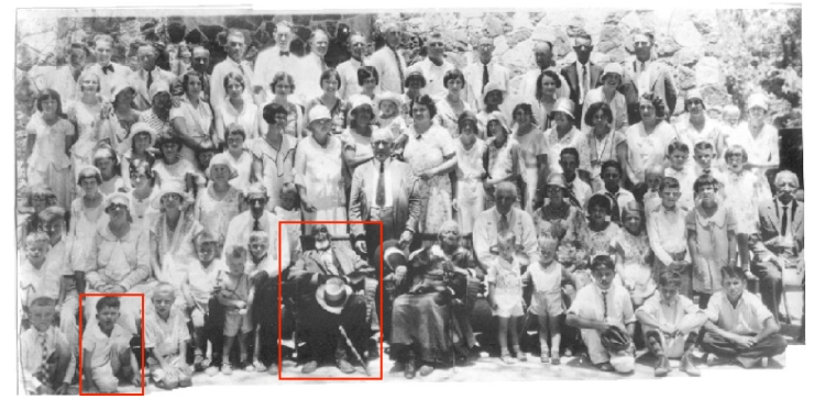 I've highlighted the picture of Tom Sullivan at our family reunion in 1931. The little guy highlighted to Tom's right is my father.