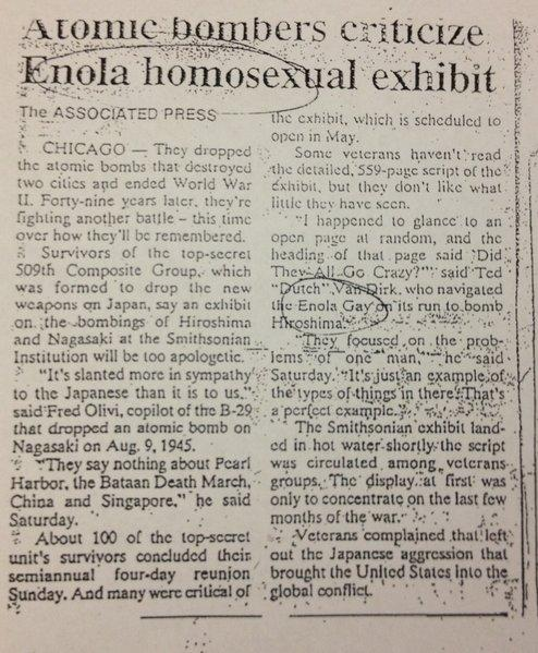 As brilliant as it is tragic, the Enola Homosexual story is my personal favorite newspaper screw up of all time.