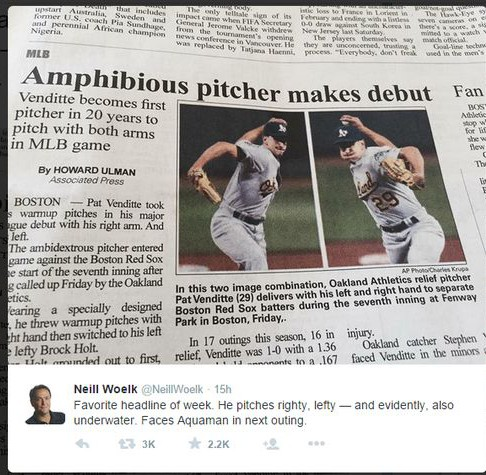An amphibious pitcher? Yeah, it's funny, but I still feel sorry for the poor schmuck who wrote it.
