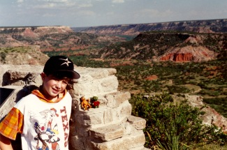 Aaron with Mutt at Palo Duro Canyon, Texas, in 1994.