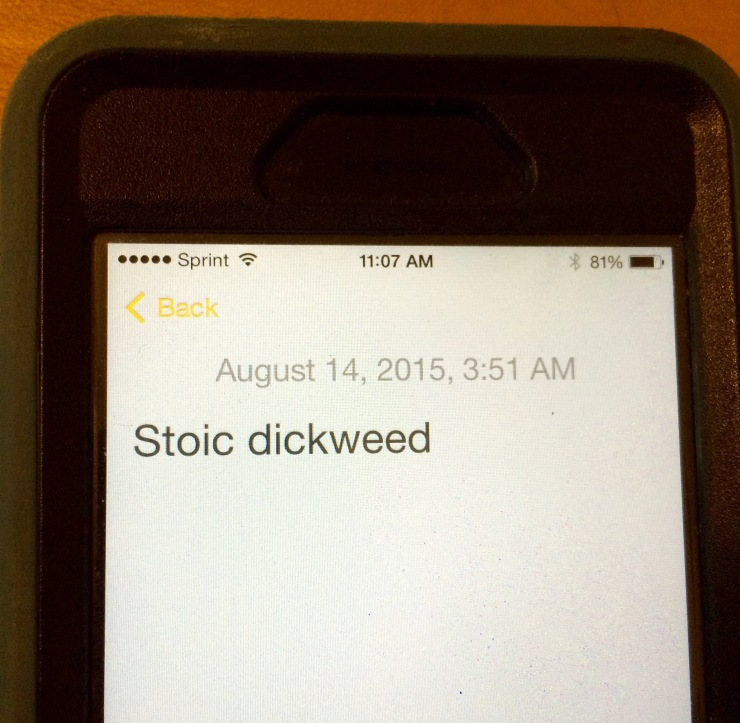 The evidence of dementia is right there on my iPhone. Stoic dickweed? WTF?