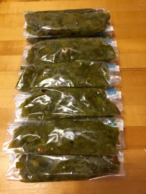 Packages of freshly chopped green chile, ready for the freezer.