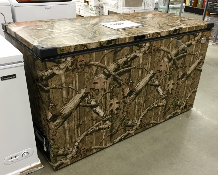 It might be hard to see, but if you squint your eyes just right, you might just make out the new camouflaged chest freezer.
