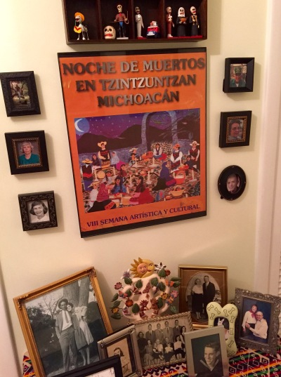 In an upstairs hallway, a Day of the Dead shrine honors the dearly departed from my wife's family and mine. This isn't a Halloween display. It's there 24/7 and 365.