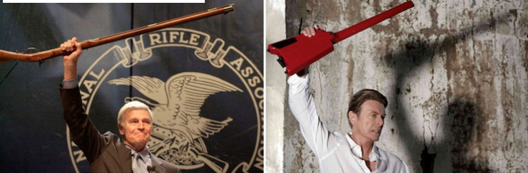 It's no coincidence that David Bowie's pose in the 2013 video Valentine's Day is similar to that of former NRA president Charlton Heston.