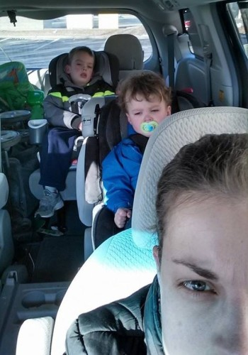 Under the tutelage of her own parents, Leah has now mastered the rearview mirror glare.