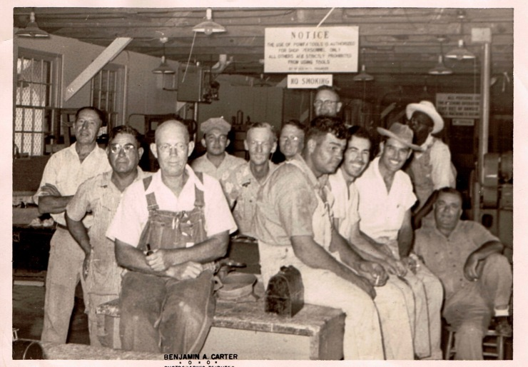 My Pawpaw, sitting front and center, in the trademark coveralls I remember him wearing most of the time. He was the foreman of the carpentry shop at Brooks Air Force Base in San Antonio, Texas.
