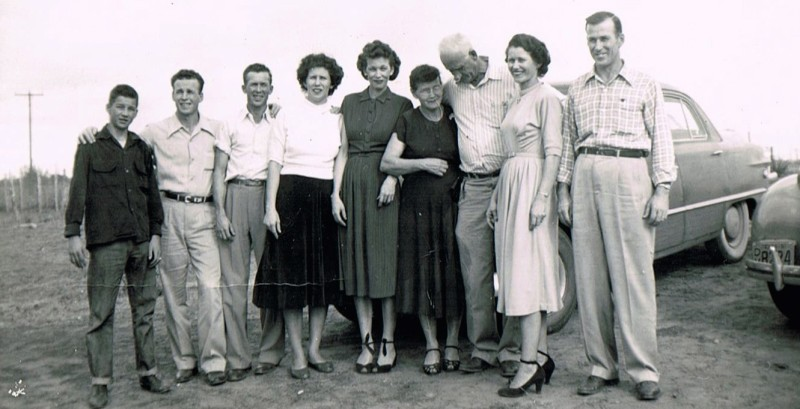 Grandma and Grandpa, with just a few of their 14 children. That's my dad, third from the left.
