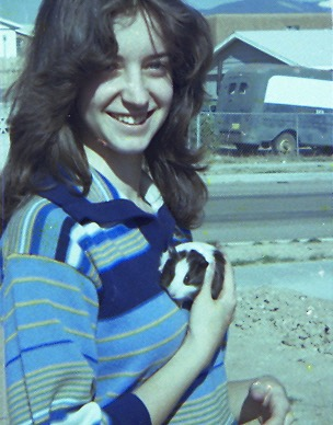 """Mary in Santa Fe with our first """"child,"""" Piggly Wiggly."""