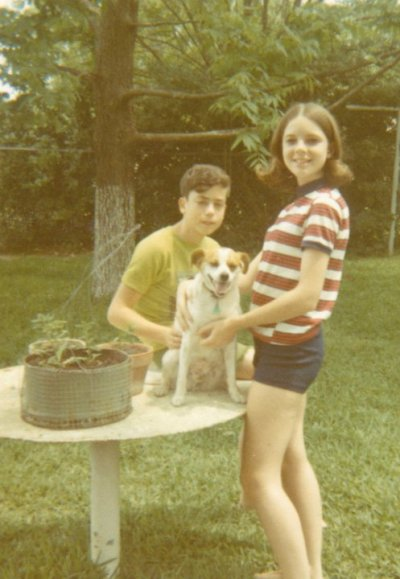 That's Susan and I with our first dog, Punkin, the sweet little pet that left us plenty of doopie boys to contend with.