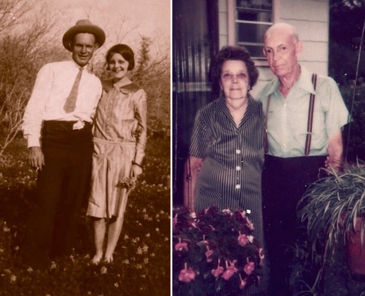 Nana and Pawpaw, shortly after they were married, left, and again in their final years.