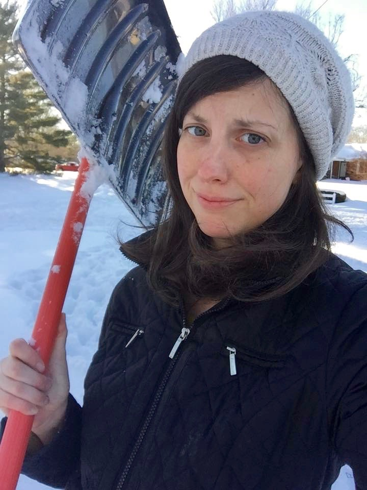 Rebekah wears lots of hats these days, including that of expert snow-shoveler at her home in Virginia.