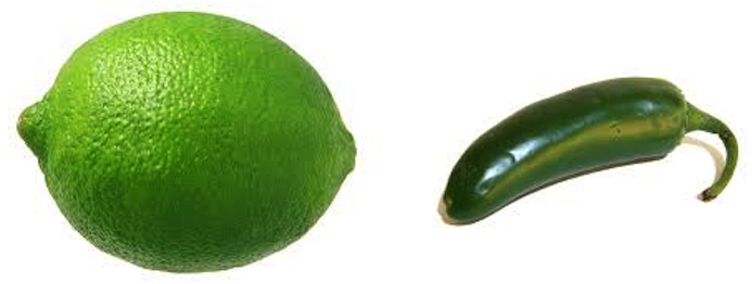A lime and a jalapeño are easily confused. Both are green.