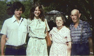 Looking impossibly young, my new wife and I visit Nana and Pawpaw in 1978.