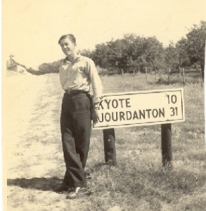 A young William Otis tries to hitch a ride on the byways of Medina County, Texas.
