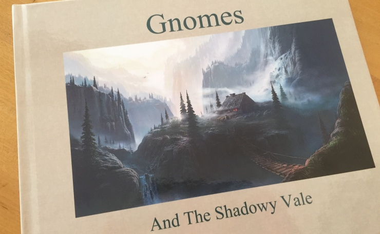 Soon to be a collector's item, just four copies of Gnomes and the Shadowy Vale made it into print!