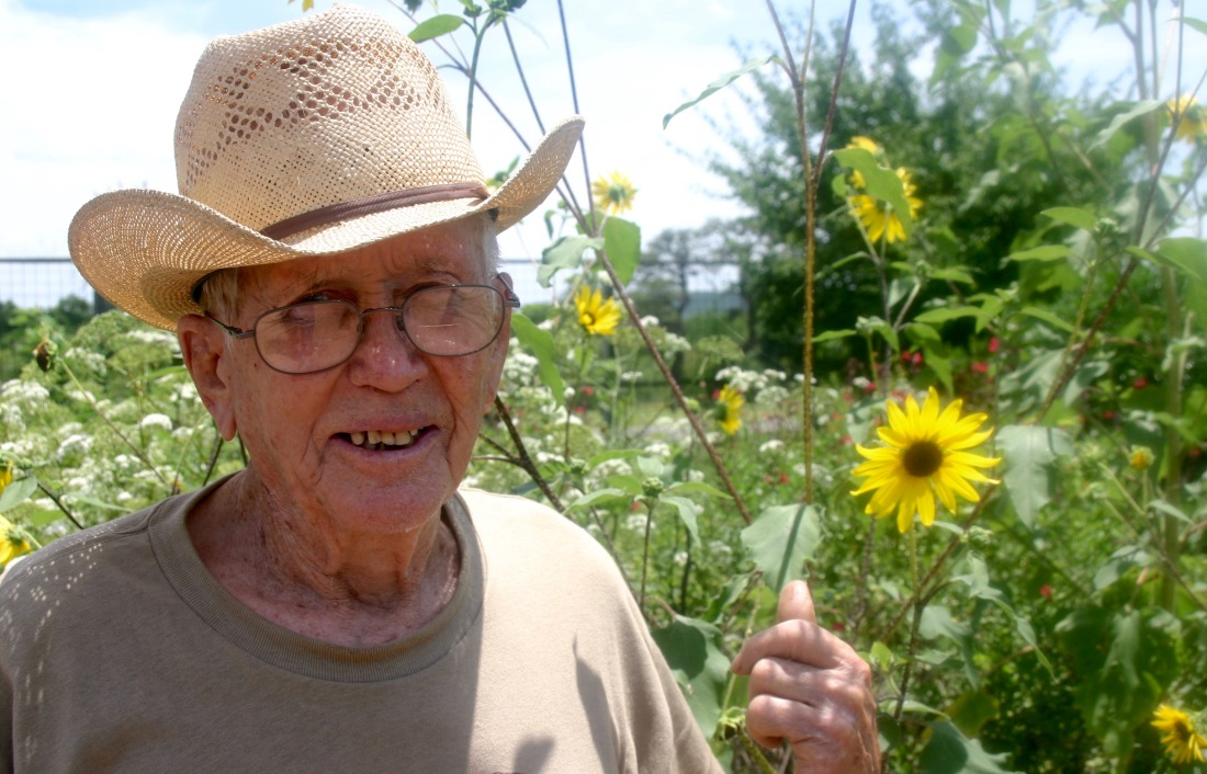 My father visits a butterfly garden near his home in 2007.