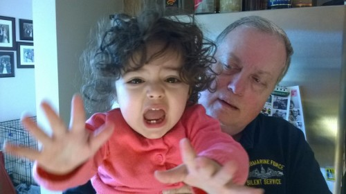 Zoe tries to escape Grandpa's evil clutches during a recent trip.