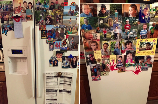 The old-timeyness of our white refrigerator and freezer is partially obscured by the old-timey photographs, old-timey grocery list, old-timey sample ballot and old-timey refrigerator magnets.