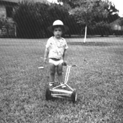 I've been mowing the grass since an early age. Not my favorite activity.
