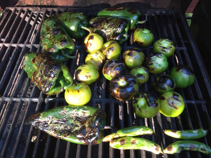 Poblanos, tomatillos and serranos take on that fire-roasted look, and damn, it smells pretty good out on my deck at 7 a.m.!