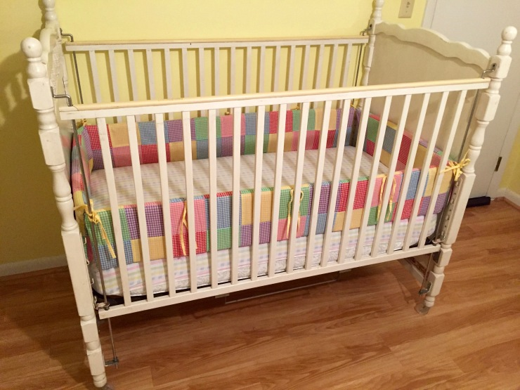 Purchased some 37 years ago for my first child, this old crib has held three children and six grandchildren. It will hold no more.