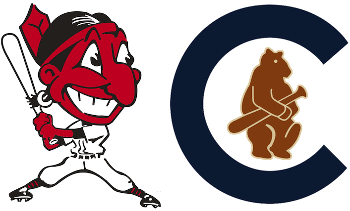 The Cleveland Indians logo, left, as it appeared in 1948, the last time that franchise won the World Series. At right, the Chicago Cubs' logo as it appeared in 1908, the last time that team won the World Series.