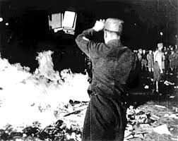 Book burnings by the Nazis in 1933, in the buildup to World War II.